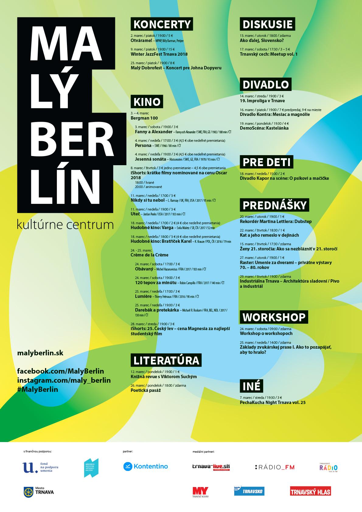 mesačný plagát Malého Berlína - Marec 2018