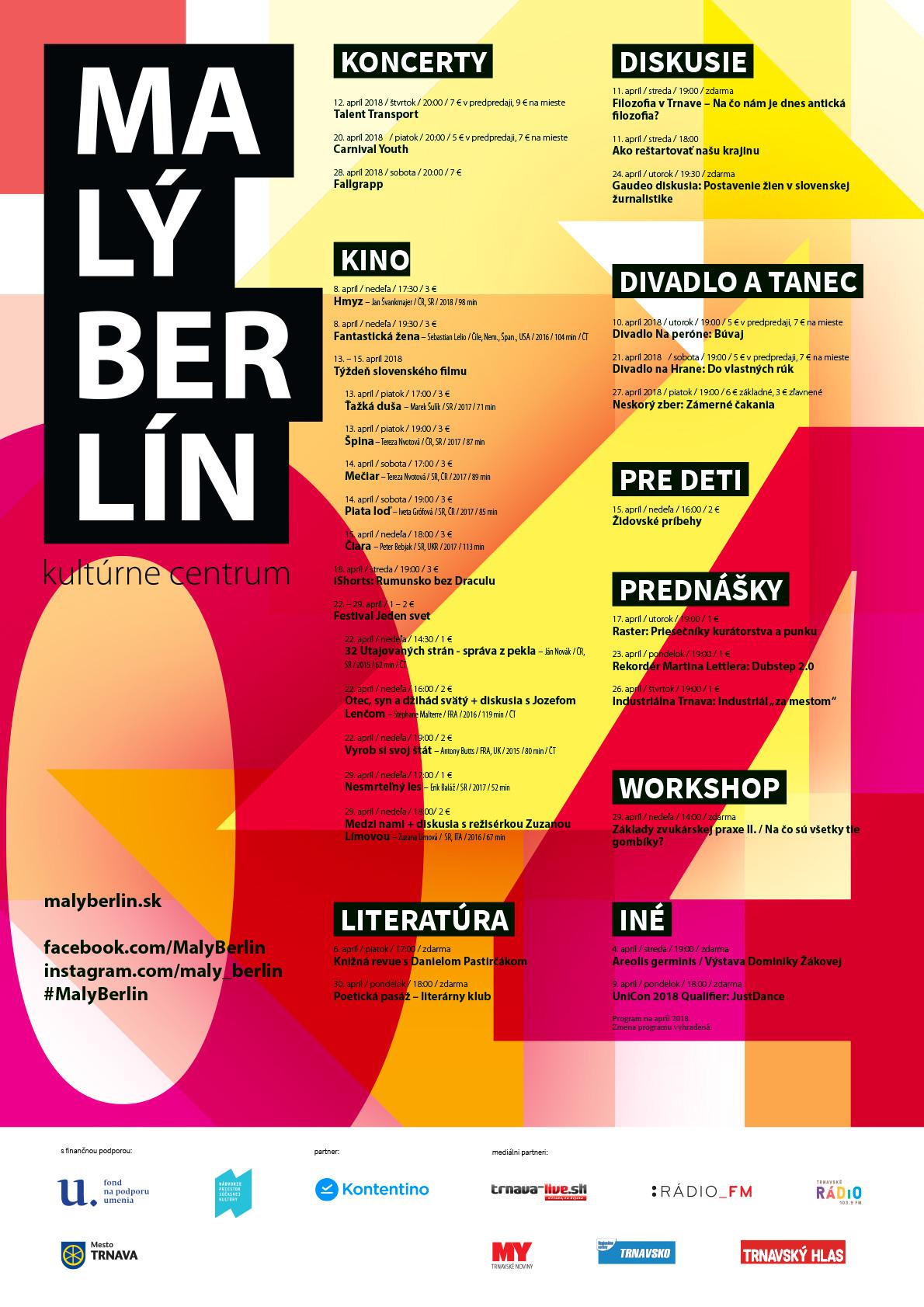 Malý Berlín, program na apríl